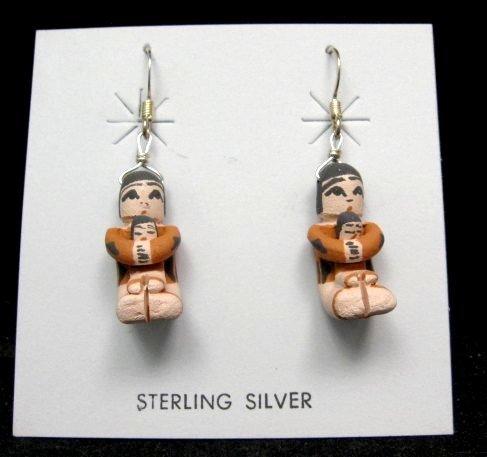 Image 0 of Angel Bailon ~ Jemez Indian Pueblo ~ Pottery Storyteller Earrings