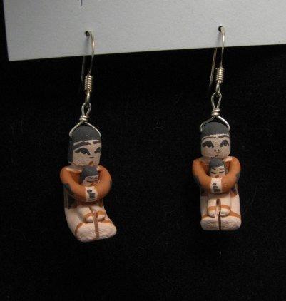 Image 2 of Angel Bailon ~ Jemez Indian Pueblo ~ Pottery Storyteller Earrings