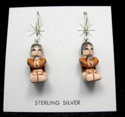 Angel Bailon ~ Jemez Indian Pueblo ~ Pottery Storyteller Earrings
