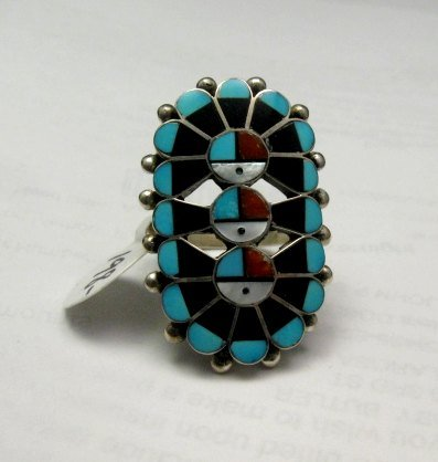 Image 1 of Native American Zuni Triple Sunface Inlay Ring, Delbert Sosseah, sz8