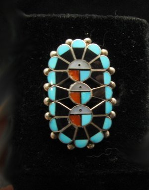 Image 0 of Native American Zuni Triple Sunface Inlay Ring, Delbert Sosseah, sz8