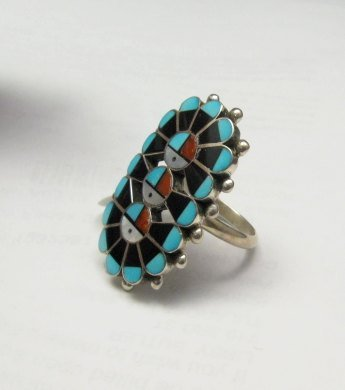 Image 2 of Native American Zuni Triple Sunface Inlay Ring, Delbert Sosseah, sz8
