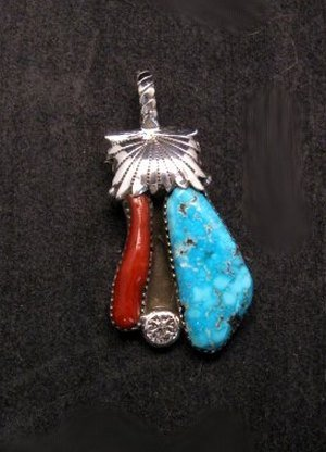 Image 0 of Zuni Robert & Bernice Leekya Turquoise & Coral Silver Pendant