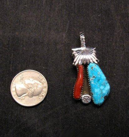 Image 1 of Zuni Robert & Bernice Leekya Turquoise & Coral Silver Pendant