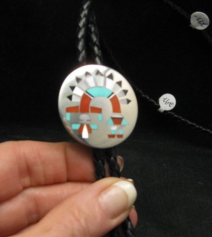 Image 0 of Fred & Lolita Natachu Zuni Rainbow Man Yei Sterling Silver Bolo
