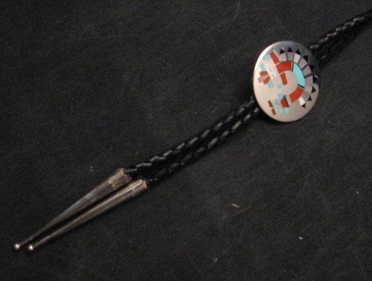 Image 1 of Fred & Lolita Natachu Zuni Rainbow Man Yei Sterling Silver Bolo