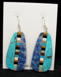 Big Kewa Turquoise Lapis Inlaid Earrings, Rudy & Mary Coriz, Santo Domingo