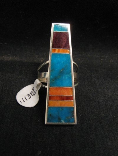 Image 0 of Navajo Sterling Silver Inlay Ring by Harold Smith sz8