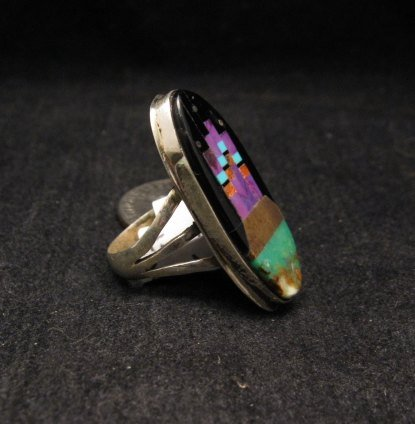 Image 1 of Native American Inlay Silver Ring, Navajo, Gilbert Smith, sz6
