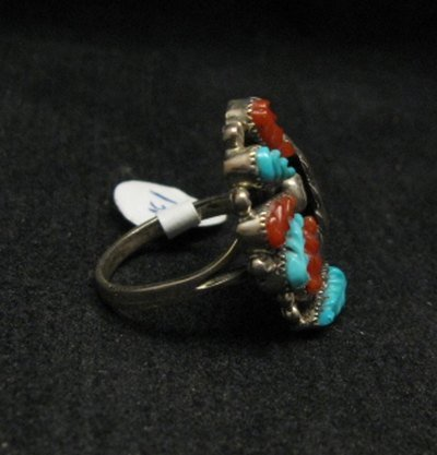 Image 1 of Zuni Native American Turquoise Silver Ring Robert Eustace sz5-3/4