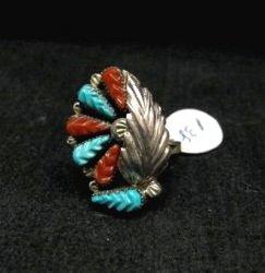 Zuni Native American Turquoise Silver Ring Robert Eustace sz5-3/4