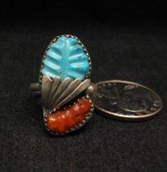 Zuni Native American Carved Turquoise Coral Pendant, Loyolita Othole