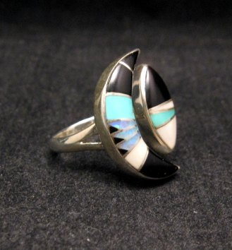 Image 1 of Native American Wrap-around Multigem Inlay ring sz5-1/2 to sz7, Martinez