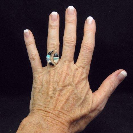 Image 2 of Native American Wrap-around Multigem Inlay ring sz5-1/2 to sz7, Martinez