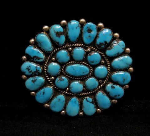 Image 0 of A++ Museum Quality Robert & Bernice Leekya Zuni Turquoise Pin