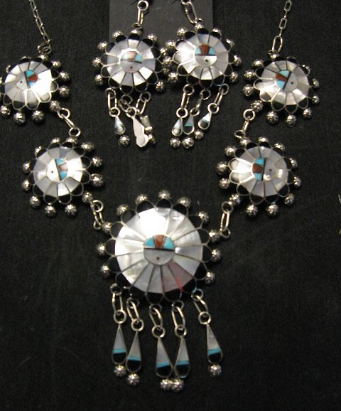Image 1 of Zuni Abel Soseeah Sunface Necklace Earrings & Bracelet Set