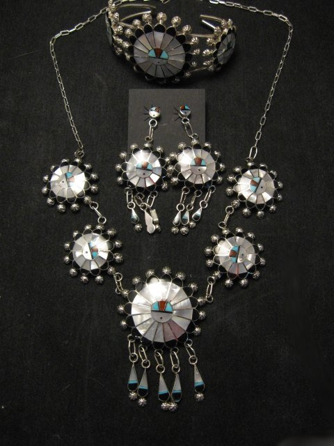 Image 0 of Zuni Abel Soseeah Sunface Necklace Earrings & Bracelet Set