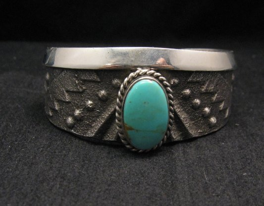 Image 0 of Anthony Bowman ~ Navajo ~ Tufa Cast Silver Turquoise Bracelet