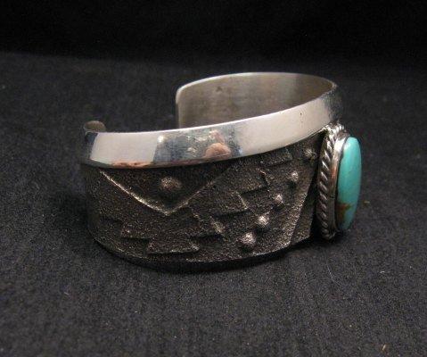 Image 3 of Anthony Bowman ~ Navajo ~ Tufa Cast Silver Turquoise Bracelet