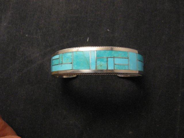 Image 0 of Rick & Glendora Booqua Zuni Turquoise Inlay Sterling Silver Bracelet