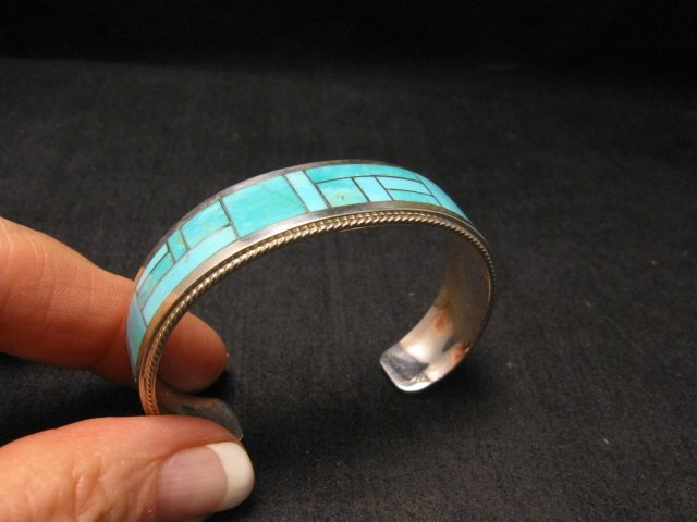 Image 1 of Rick & Glendora Booqua Zuni Turquoise Inlay Sterling Silver Bracelet