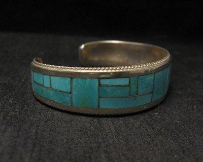 Image 2 of Rick & Glendora Booqua Zuni Turquoise Inlay Sterling Silver Bracelet