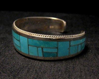 Image 3 of Rick & Glendora Booqua Zuni Turquoise Inlay Sterling Silver Bracelet