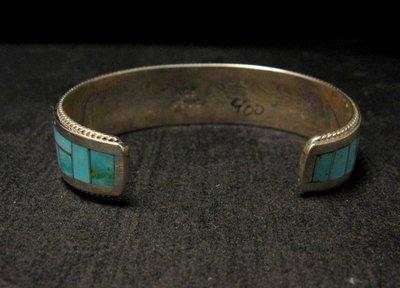 Image 4 of Rick & Glendora Booqua Zuni Turquoise Inlay Sterling Silver Bracelet