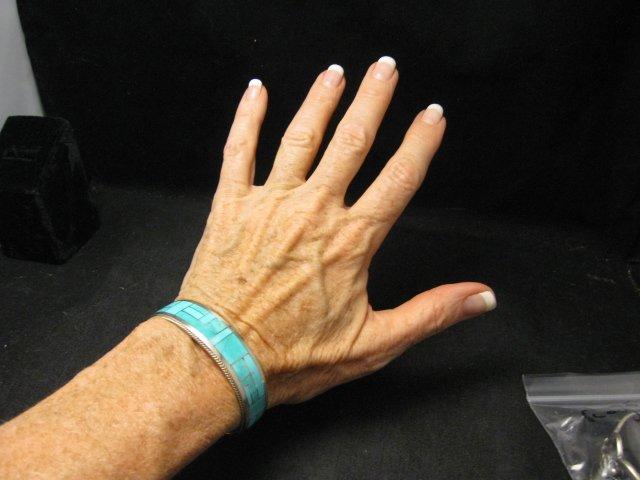 Image 5 of Rick & Glendora Booqua Zuni Turquoise Inlay Sterling Silver Bracelet