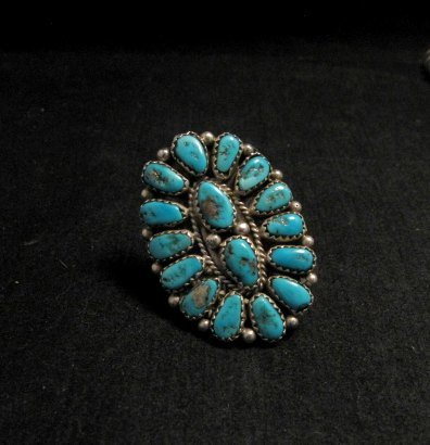 Image 0 of Justin Wilson Navajo Silver & Turquoise Cluster Jewelry Ring sz7