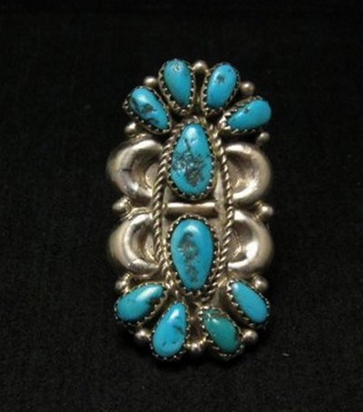 Image 0 of Justin Wilson Navajo Silver & Turquoise Cluster Sterling Silver Ring sz9