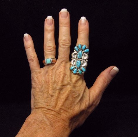Image 2 of Justin Wilson Navajo Silver & Turquoise Cluster Sterling Silver Ring sz9