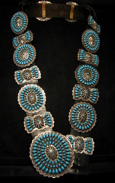 Image 7 of Vintage Pawn Navajo Native American Turquoise Cluster Concho Belt