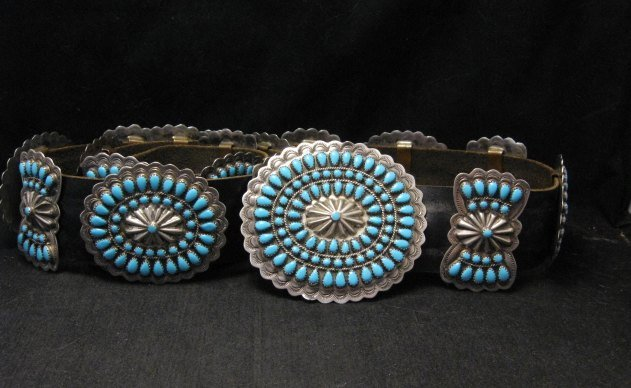 Image 2 of Vintage Pawn Navajo Native American Turquoise Cluster Concho Belt