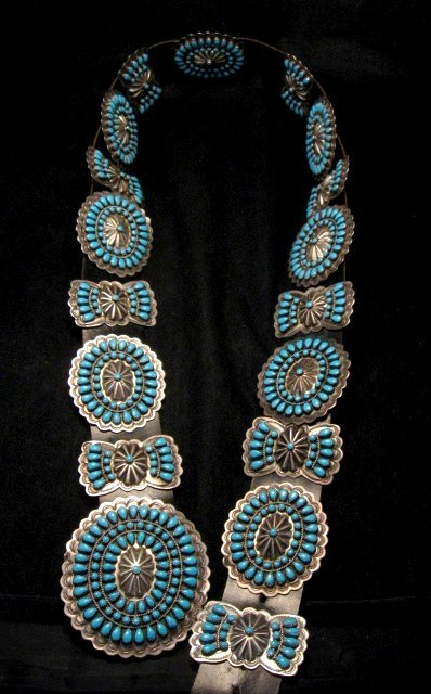 Image 1 of Vintage Pawn Navajo Native American Turquoise Cluster Concho Belt