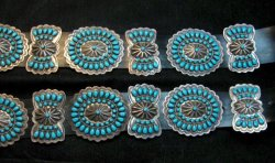Vintage Pawn Navajo Native American Turquoise Cluster Concho Belt