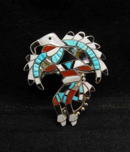 Image 0 of Laiwakete ~ Zuni ~ Multi-Stone Sterling Silver Eagle Dancer Pin