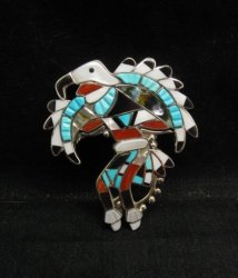 Laiwakete ~ Zuni ~ Multi-Stone Sterling Silver Eagle Dancer Pin