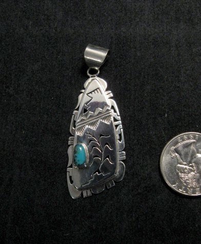 Image 0 of Nelson Morgan Navajo Turquoise Silver Shadowbox Pendant