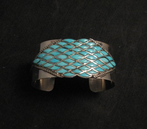 Image 0 of Zuni Sleeping Beauty Turquoise Silver Cuff Bracelet, Derrick and Lorelia Chavez