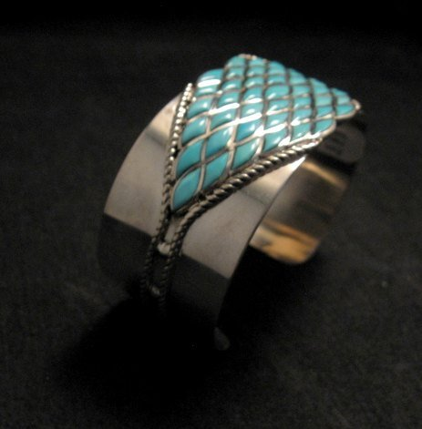 Image 1 of Zuni Sleeping Beauty Turquoise Silver Cuff Bracelet, Derrick and Lorelia Chavez