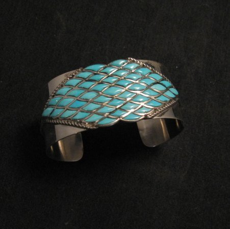 Image 3 of Zuni Sleeping Beauty Turquoise Silver Cuff Bracelet, Derrick and Lorelia Chavez