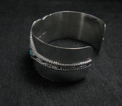 Image 2 of Zuni Sleeping Beauty Turquoise Silver Cuff Bracelet, Derrick and Lorelia Chavez