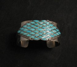 Zuni Sleeping Beauty Turquoise Silver Cuff Bracelet, Derrick and Lorelia Chavez
