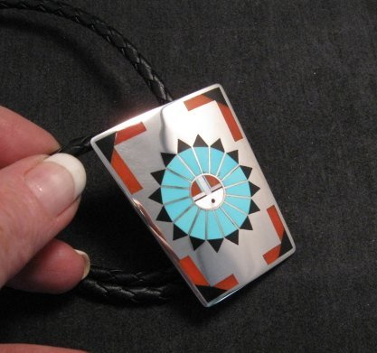 Image 1 of Fred & Lolita Natachu Zuni Sunface Inlay Sterling Silver Bolo