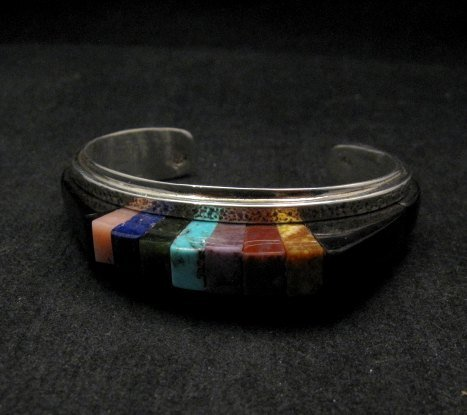 Image 3 of One of a Kind Hopi Multi Stone Inlay Bracelet, Bennard & Frances Dallasvuyaoma