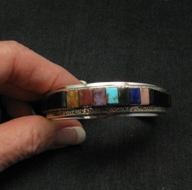 Image 5 of One of a Kind Hopi Multi Stone Inlay Bracelet, Bennard & Frances Dallasvuyaoma