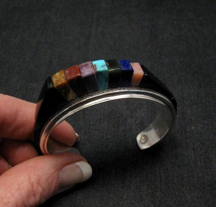 Image 6 of One of a Kind Hopi Multi Stone Inlay Bracelet, Bennard & Frances Dallasvuyaoma