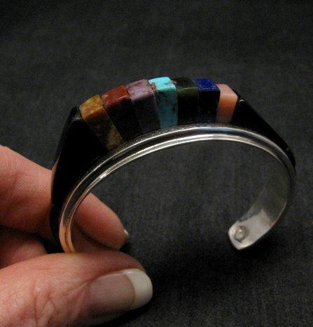 Image 0 of One of a Kind Hopi Multi Stone Inlay Bracelet, Bennard & Frances Dallasvuyaoma