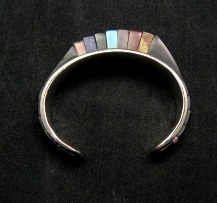Image 1 of One of a Kind Hopi Multi Stone Inlay Bracelet, Bennard & Frances Dallasvuyaoma
